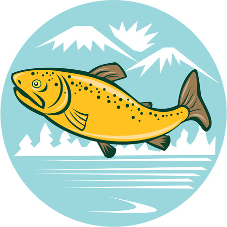 Illustration of a brown trout rainbow spotted fish jumping viewed from the side set inside circle with mountains and lake in the background done in cartoon style.