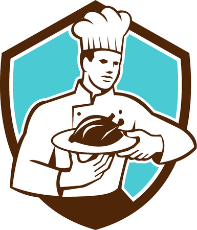 serve: Illustration of a chef cook holding serving serve plate platter with chicken set inside shield crest on isolated background done in retro style.