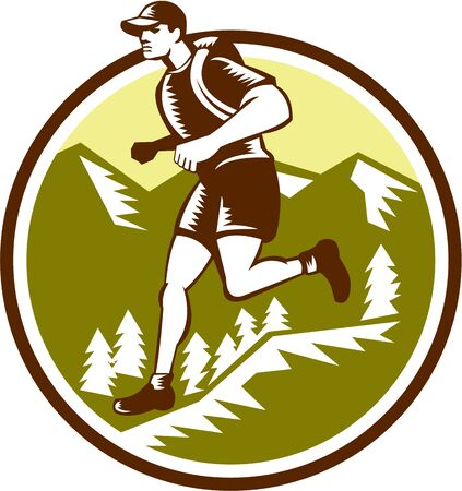 cross country: Illustration of a cross country runner running viewed from the side set inside circle with mountains and trees in the background done in retro style.