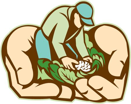 produce: Illustration of hands holding organic farmer with crop produce harvest of vegetables done in retro style.