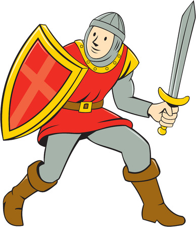 Illustration of knight in full armor standing with sword and shield set on isolated white background done in cartoon style. Illustration