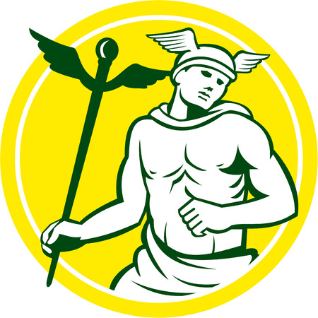 heralds: Illustration of Roman god Mercury patron god of financial gain, commerce, communication and travelers wearing winged hat and holding caduceus a heralds staff looking to the side viewed from front, set inside circle on isolated background done in retro st Illustration