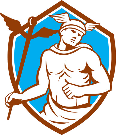 heralds: Illustration of Roman god Mercury patron god of financial gain, commerce, communication and travelers wearing winged hat and holding caduceus a heralds staff looking to side viewed from front set inside shield crest on isolated background done in retro s