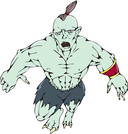 malevolent: Cartoon style illustration of an orc warrior jumping forward viewed from front on isolated background. Illustration