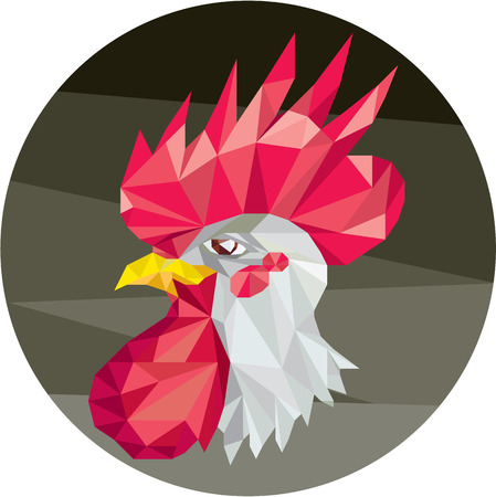 3d chicken: Low polygon style illustration of a chicken rooster head viewed from the side set inside circle on isolated background.