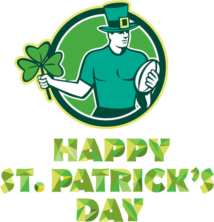 Illustration of an Irish rugby player wearing top hat running with the ball holding shamrock clover leaf set inside circle with text Happy St. Patricks Day done in retro style. Vector