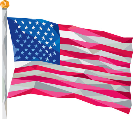 Low polygon illustration of usa american flag stars and stripes set on isolated white background. Vector