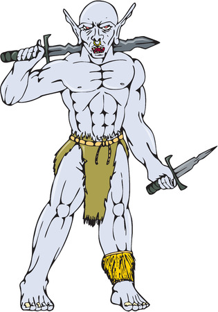 gstring: Cartoon style illustration of an orc warrior with nose ring holding a sword and dagger viewed from front on isolated background. Illustration