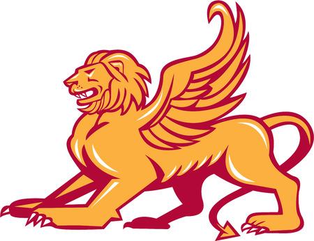 leon con alas: Ilustración de un gato grande león alado o el león de San Marcos, vista desde el lado listo para saltar en el fondo aislado. Vectores