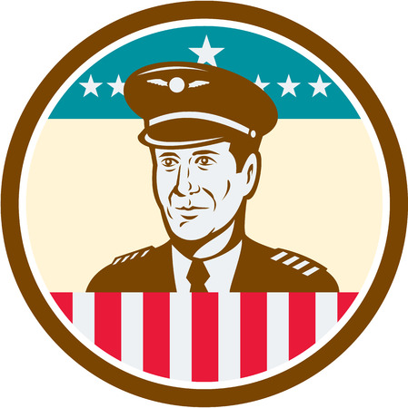 aeronautics: Illustration of an American airline aircraft pilot or aeronautical aviator looking to front set inside circle with USA stars and stripes flag done in retro style.