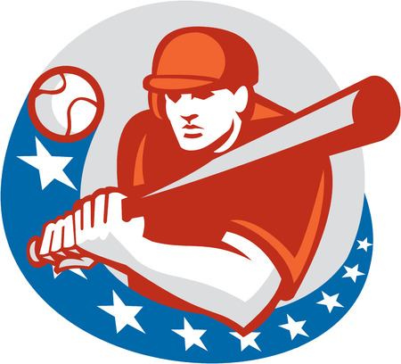 hitter: Illustration of a american baseball player batter hitter holding bat ready to strike set inside circle with stars on isolated background done in retro style.