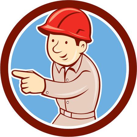 bauarbeiterhelm: Illustration eines Builders Bauarbeiter tr�gt Helm zeigt auf der Suche nach dem Set innerhalb des Kreises auf wei�em Hintergrund im Retro-Stil Seite. Illustration