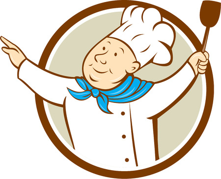 arms out: Illustration of a chef cook baker with arms out holding spatula looking up to the side set inside circle on isolated background done in cartoon style. Illustration