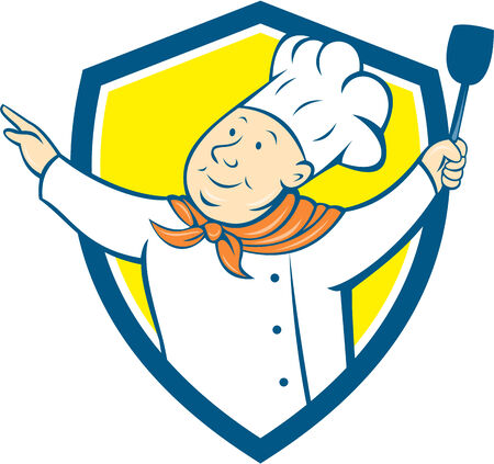 arms out: Illustration of a chef cook baker arms out holding spatula looking up to the side set inside shield crest on isolated background done in cartoon style.
