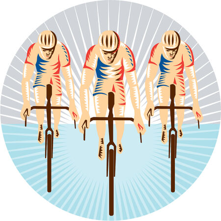 racing bicycle: Illustration of cyclists riding racing bicycle cycling biking face down viewed from front set inside circle with sunburst in the background done in retro woodcut style.