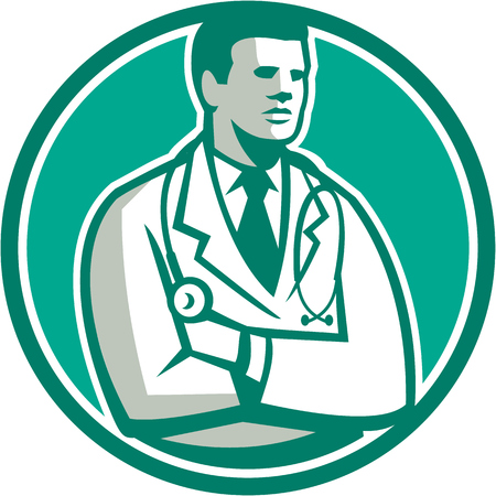 over the shoulder: Illustration of a male medical doctor with stethoscope over shoulder standing looking to the side set inside circle on isolated background done in retro style.