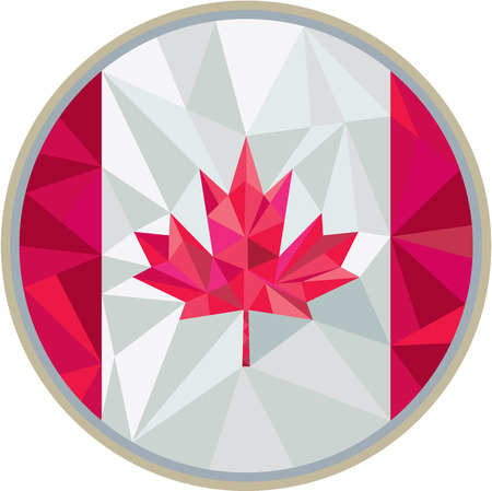 Low polygon style illustration of canada flag maple leaf set inside circle on isolated background. Vectores