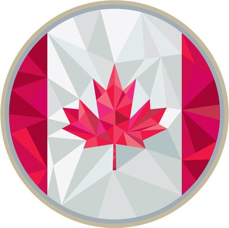 Low polygon style illustration of canada flag maple leaf set inside circle on isolated background. Illustration