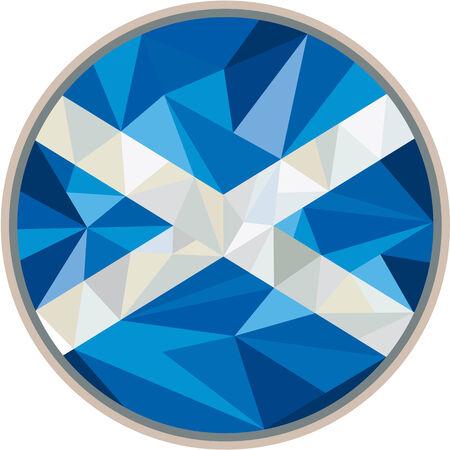 scottish flag: Illustrazione Basso stile poligono della croce di scotland scozzese bandiera st andrew impostato all'interno cerchio su sfondo isolato. Vettoriali