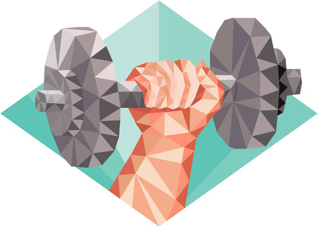 hand with dumbbell: Low polygon style illustration of a hand lifting dumbbell weight training set inside diamond shape.