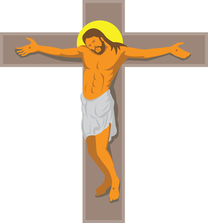crucified: Illustration of Jesus Christ hanging on cross crucified done in art deco retro style on isolated white background. Illustration