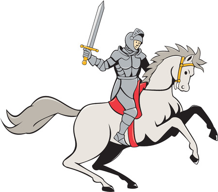 steed: Illustration of knight in full armor riding horse steed with sword facing side set on isolated white background done in cartoon style. Illustration