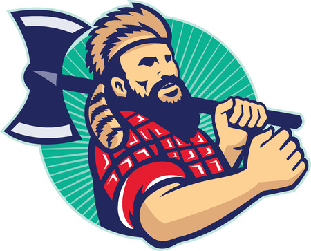 Illustration of lumberjack arborist forester logger holding an axe set inside circle with sunburst in the background done in retro style.