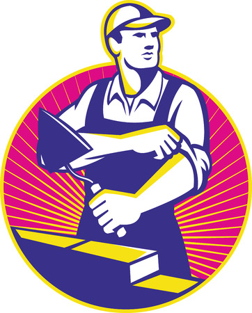 man in hat: Illustration of a mason construction working holding trowel rolling up sleeves laying bricks set inside circle with sunburst in the background done in retro style.