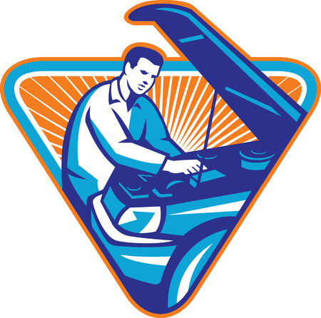 car fix: Illustration of an auto automobile mechanic repairing car engine with hood open set inside triangle with sunburst in the background done in retro style. Illustration