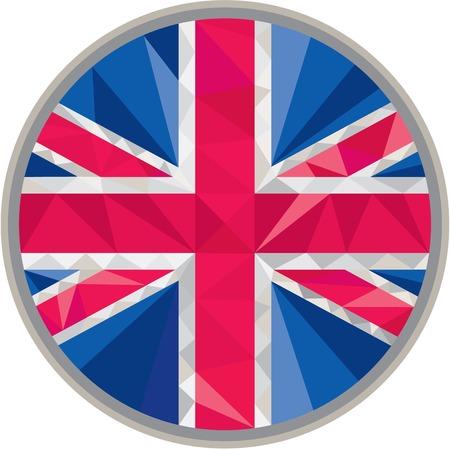 gb: Low polygon style illustration of union jack United Kingdom, Great Britain, British flag set inside circle.