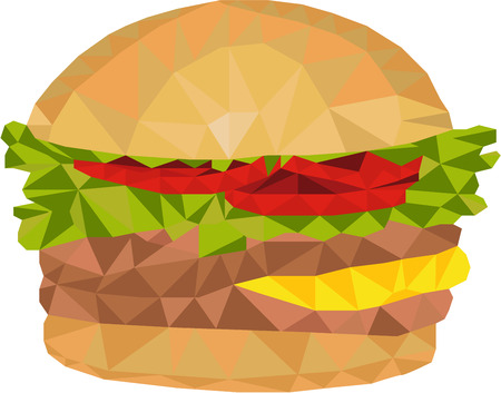 patty: Low polygon style illustration of a hamburger with tomato, lettuce, cheese and burger patty set on isolated white background. Illustration