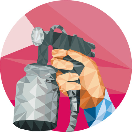 paint gun: Low polygon style illustration of hand holding spray paint gun spraying painting set inside circle on isolated background