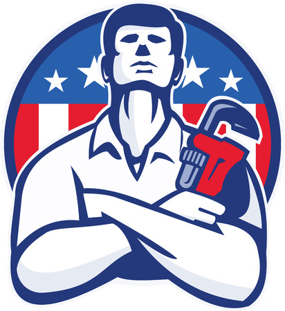 crossed arms: Illustration of a plumber tradesman handyman worker with arms crossed holding a monkey wrench facing front set inside circle  with American stars and stripes flag done in retro style.