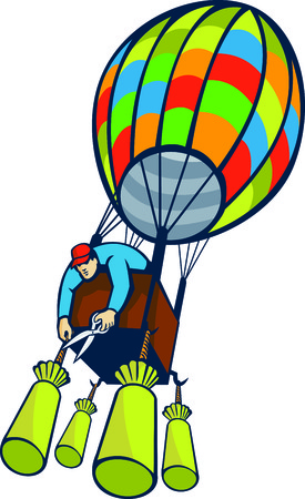 Illustration of a man cutting ballast of hot air balloon with pair of scissors viewed from a low angle on isolated white background done in retro style.