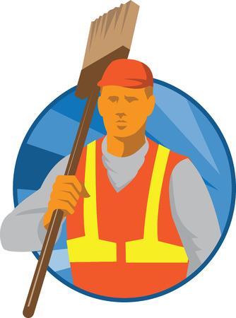 spazzatrice: Illustrazione di una scopa pulita bidello spazzatrice tiene sulla spalla di fronte a fronte trova all'interno cerchio fatto in art deco stile retr�. Vettoriali