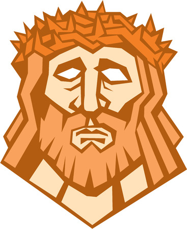 roman catholic: Illustration of Jesus Christ face with crown of thorns set on isolated white background done in retro style. Illustration