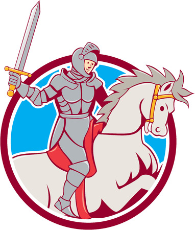 steed: Illustration of knight in full armor riding horse steed with sword set inside circle on isolated background done in cartoon style.