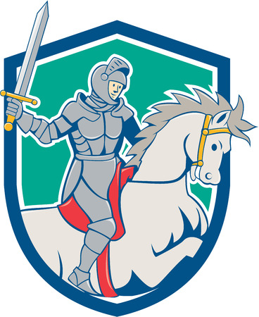 steed: Illustration of knight in full armor riding horse steed with sword facing side set inside shield crest on isolated background done in cartoon style.