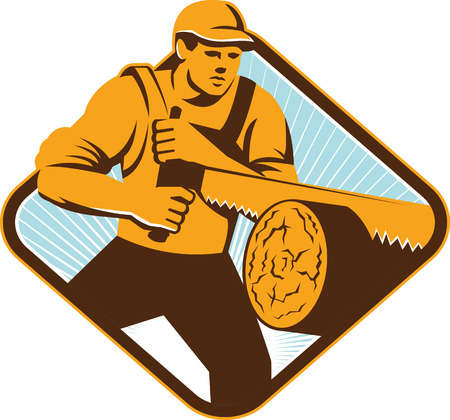 log in: Illustration of a lumberjack logger forrester sawing with cross-cut saw timber log wood set inside diamond shape done in retro style. Illustration