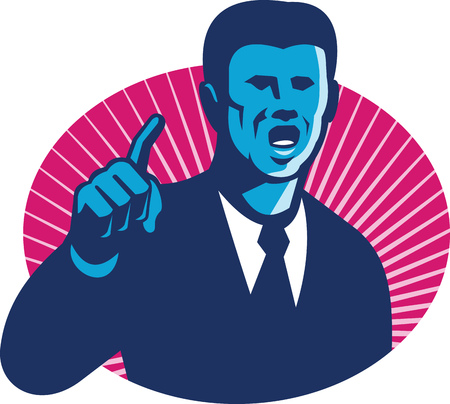 Illustration of a blue businessman male politician in dark tie and suit  pointing finger set inside ellipse with sunburst in the background done in retro style.