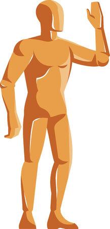 anatomia humana: Ilustraci�n de un maniqu� masculino figura anatom�a humana de pie agitar de hecho en estilo retro en el fondo blanco aislado. Vectores