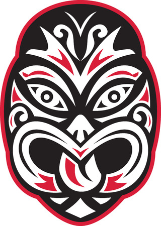 Illustration of a maori tiki moko tattoo mask facing front on isolated white background done in retro style.