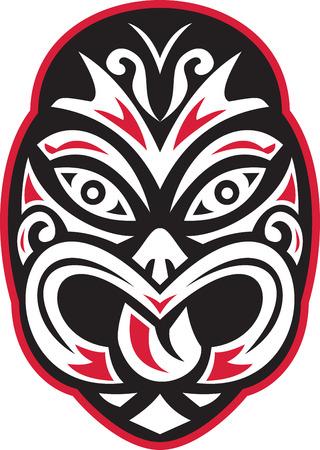 Ilustración de un maorí moko del tiki máscara tatuaje frente a frente en el fondo blanco aislado hecho en estilo retro.