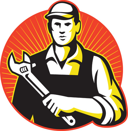 tradesman: Illustration of a mechanic repairman worker tradesman holding an adjustable wrench spanner set inside circle with sunburst in the background done in retro style. Illustration
