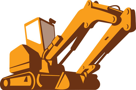 bulldozer: Illustration of a bulldozer viewed from front side from a low angle on isolated white background done in retro style. Illustration