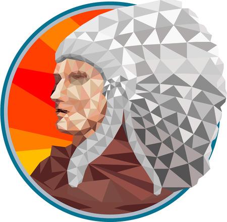 chieftain: Low illustrazione stile poligono di un nativo americano capo indiano primi popoli visto dal lato impostato all'interno cerchio.