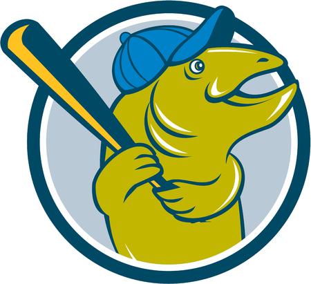 bateo: Ilustraci�n de un jugador de b�isbol de pescado trucha con el bate de b�isbol sombrero de la celebraci�n de bateo mira a la cara fij� el c�rculo interior en el fondo aislado hecho en estilo de dibujos animados.