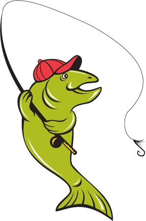 mosca caricatura: Ilustraci�n de un carrete de la ca�a de pescar y la mosca del gancho de pesca de pescado de trucha arco iris que sostiene visto desde el conjunto de lado en el fondo blanco aislado hecho en estilo de dibujos animados.
