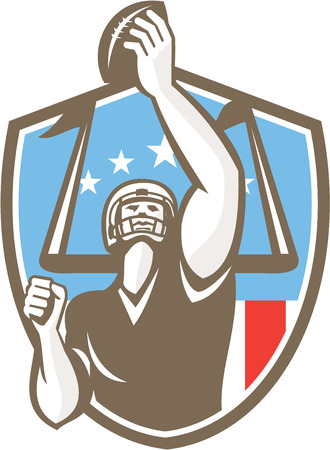 touchdown: Illustration of an american football gridiron receiver player with ball scoring touchdown with goal post an usa stars and stripes in the background set inside shield crest done in retro style