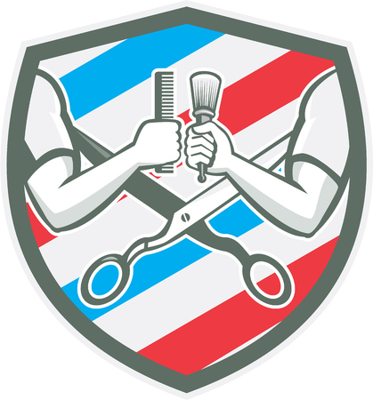barber pole: Illustration of barber hands one holding comb and the ohter hand holding brush with scissors and barber pole strips stripes in the background set inside shield crest done in retro style.
